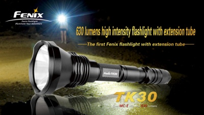 'Fenix' 630 lumens high intensity LED flashlight with wctension tube (TK30)