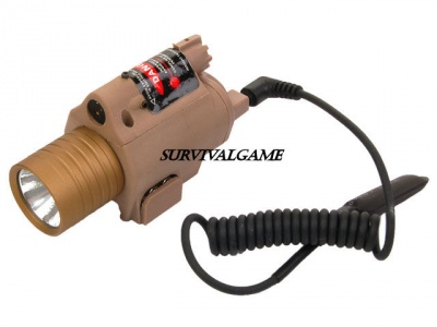 M6 Style Flashlight With Laser & Pressure Pad - Tan
